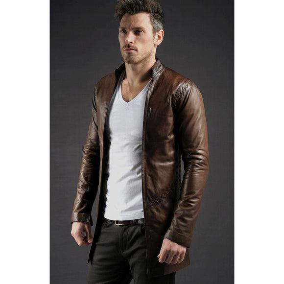 Brown Leather Moonie Jacket