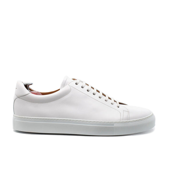 White Leather Girona Lace Up Sneakers