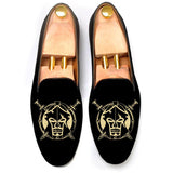Flat Feet Shoes - Black Velvet Spartan Shield Embroidered Loafers with Arch Support