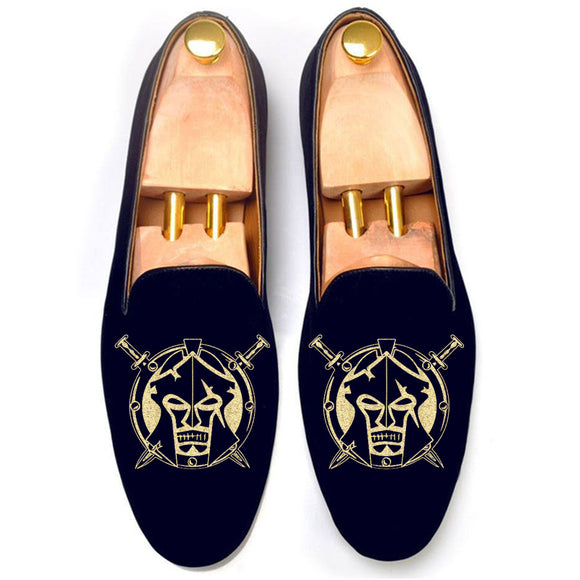 Blue Velvet Spartan Shield Embroidered Loafers