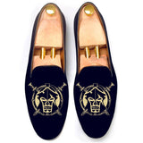 Flat Feet Shoes - Blue Velvet Spartan Shield Embroidered Loafers with Arch Support