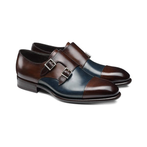 Navy Blue and Brown Leather Castle Monk Straps