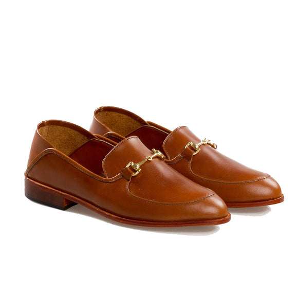 Tan Leather Penela Horsebit Collapsible Loafer Slippers