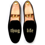 Black Velvet Thug Life Embroidered Loafers