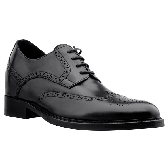 f5ac52a17fb Height Increasing Black Leather Chapelfields Brogue Derby Shoes