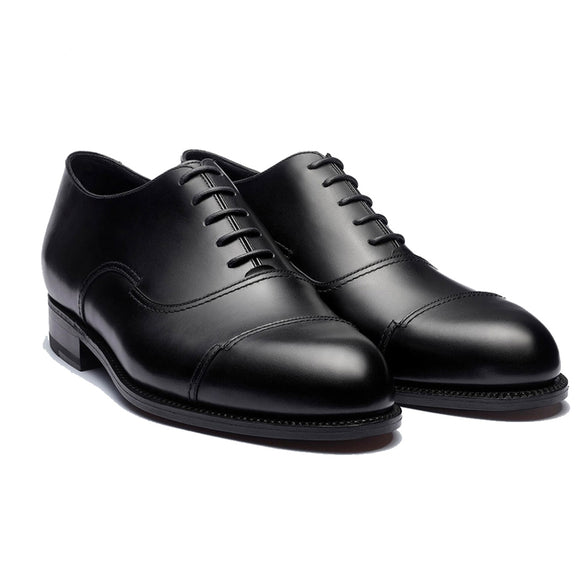 Height Increasing Black Leather Broxtowe Balmoral Oxfords