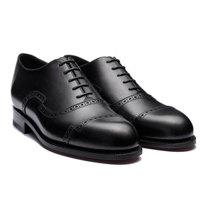 Height Increasing Black Leather Broxtowe Brogue Oxfords