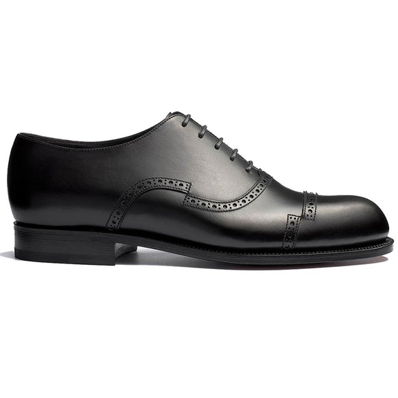 Flat Feet Shoes - Black Leather Broxtowe Brogue Oxfords with Arch Support