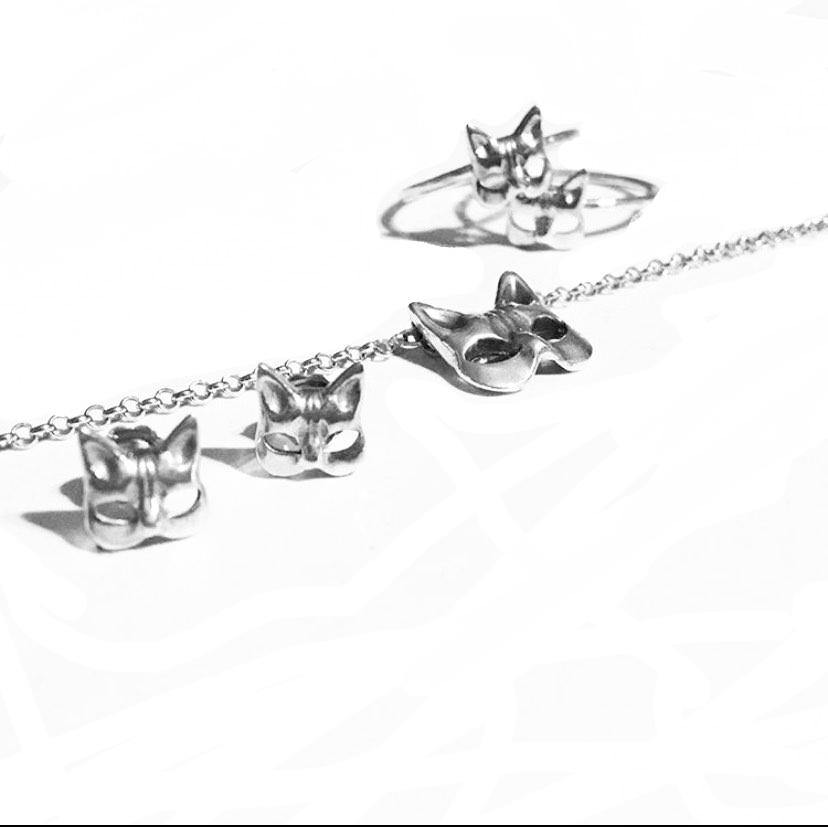 Kitty Mask Necklace -Sterling Silver