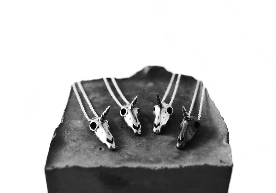 Unicorn skull necklace - sterling silver