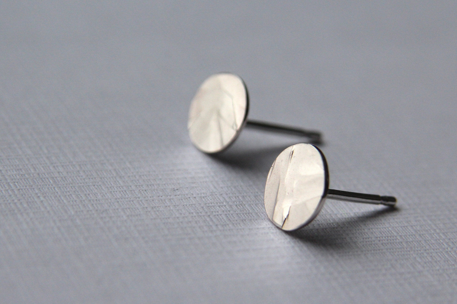 Hammered Geo Circle Sterling Silver Studs