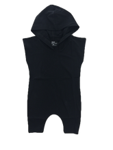 Load image into Gallery viewer, Black Hooded Romper