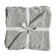 Knit Mini Moss Stitch Blanket - Grey