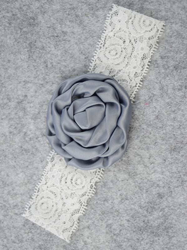 Lace Rose Headband - Grey
