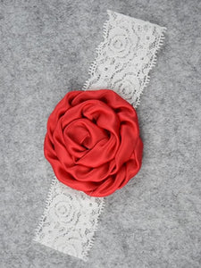 Lace Rose Headband - Red