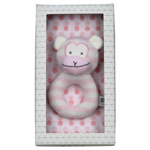 Monkey Rattle & Muslin Wrap Gift Set - Pink