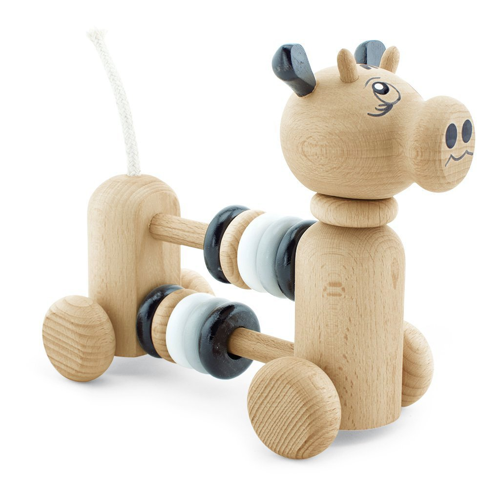 Wooden Cow With Counting Beads - Ruben