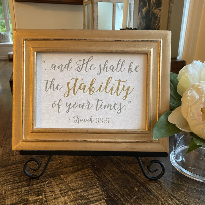 Isaiah 33:6 Stability Plaque