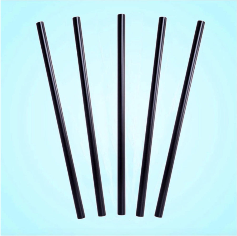 Black Unwrapped PLA Straw 7.75 inch