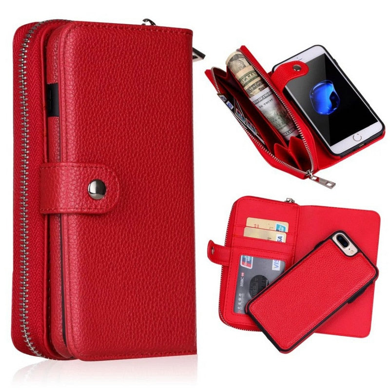 Detachable Zipper Leather Wallet Case For Samsung Galaxy S10 S10E Galaxy S9 Galaxy S8 Galaxy S7 Galaxy S6 Edge Plus S4 Note 9 Note 8 Multifunction Handbag Case - The Best Phone cases cover,iPhoneCases,HuaweiCases,SamSungCases Cases Covers
