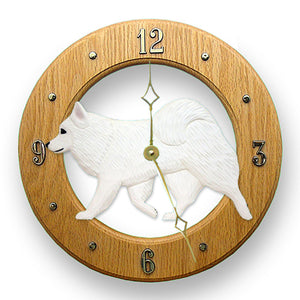American Eskimo Dog Wall Clock - Michael Park, Woodcarver