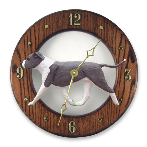 American Staffordshire Terrier (Natural) Wall Clock - Michael Park, Woodcarver