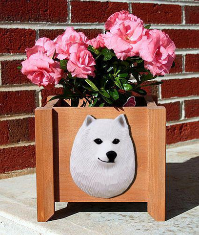 American Eskimo Dog Planter Box - Michael Park, Woodcarver