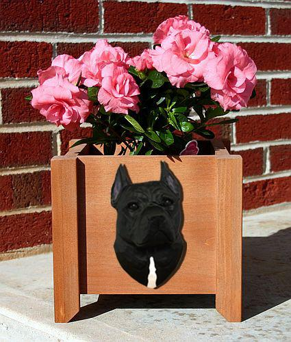 American Staffordshire Terrier Planter Box - Michael Park, Woodcarver