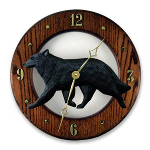 Belgian Sheepdog Wall Clock - Michael Park, Woodcarver