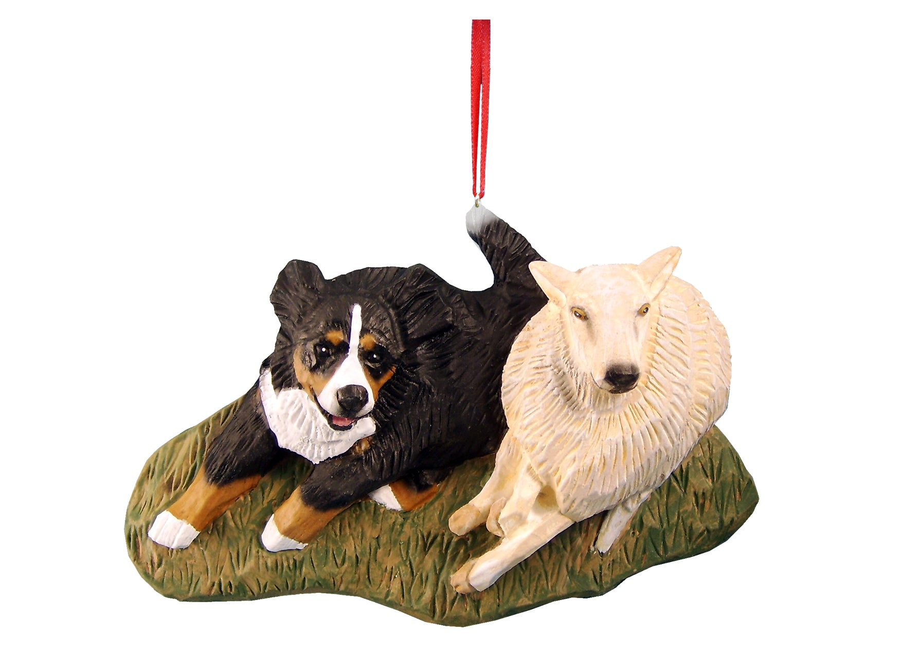 Bernese Mt. Dog Herding Sheep Ornament