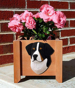 Bernese Mt. Dog Planter Box - Michael Park, Woodcarver