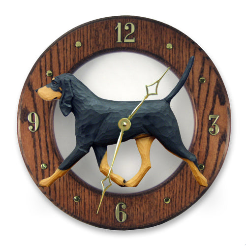 Black & Tan Coonhound Wall Clock - Michael Park, Woodcarver