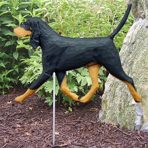 Black & Tan Coonhound Garden Stake - Michael Park, Woodcarver