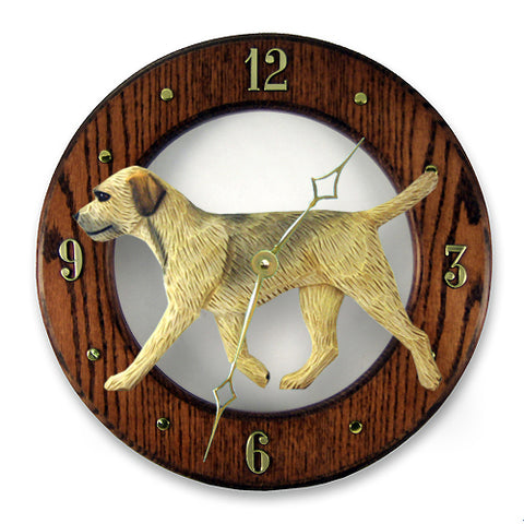 Border Terrier Wall Clock - Michael Park, Woodcarver