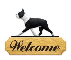 Boston Terrier DIG Welcome Sign