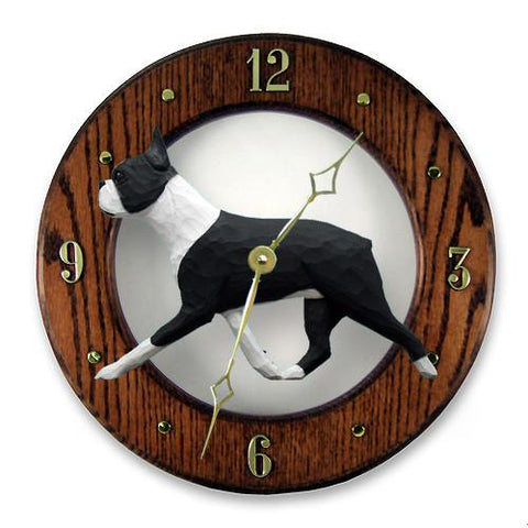 Boston Terrier Wall Clock - Michael Park, Woodcarver