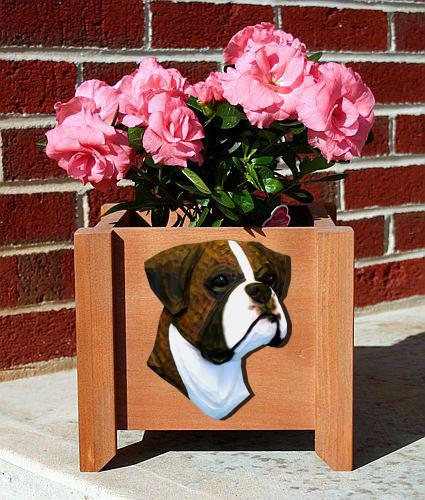 Boxer Dog (Natural) Planter Box - Michael Park, Woodcarver