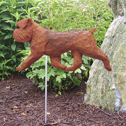 Brussels Griffon (Natural) Garden Stake - Michael Park, Woodcarver