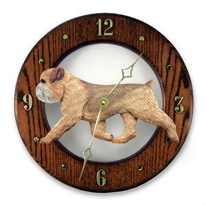 Brussels Griffon (Natural) Wall Clock - Michael Park, Woodcarver