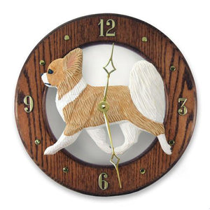 Chihuahua (Longhaired) Wall Clock - Michael Park, Woodcarver