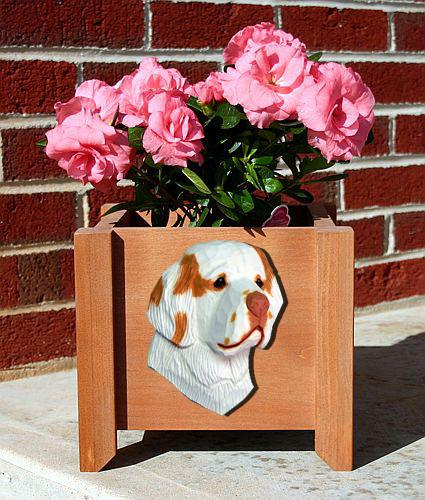 Clumber Spaniel Planter Box - Michael Park, Woodcarver