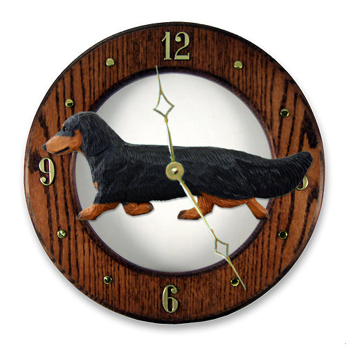 Dachshund (Longhaired) Wall Clock - Michael Park, Woodcarver