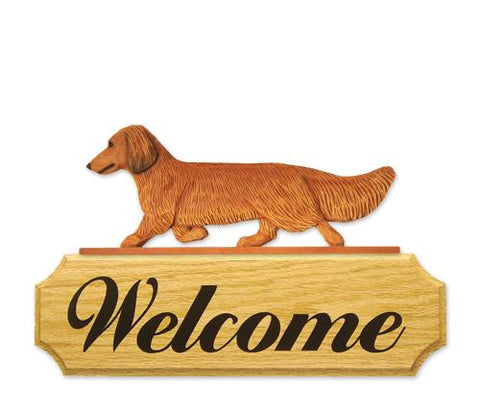Dachshund (long-haired) DIG Welcome Sign