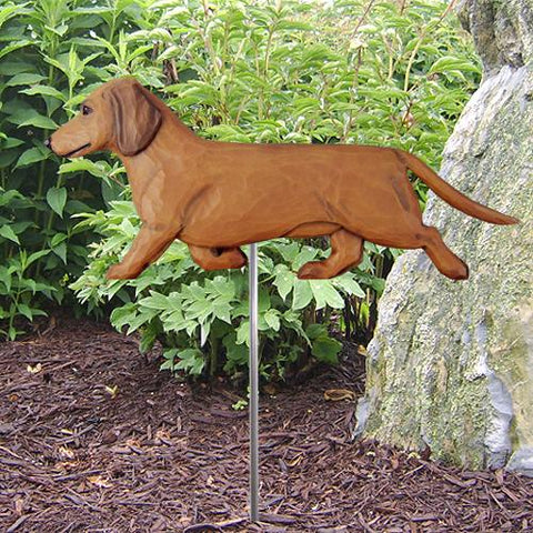 Dachshund (Smooth) Garden Stake - Michael Park, Woodcarver