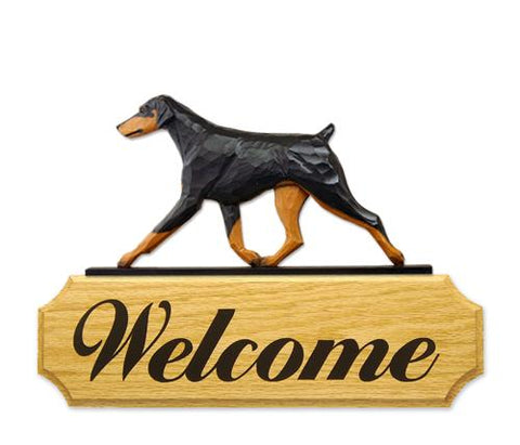 Doberman (Natural) DIG Welcome Sign