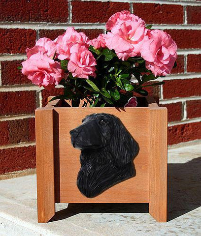 Flat-coated Retriever Planter Box - Michael Park, Woodcarver