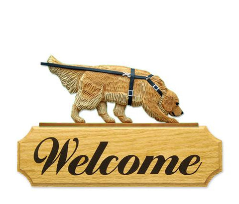 Golden Retriever Tracking DIG Welcome Sign