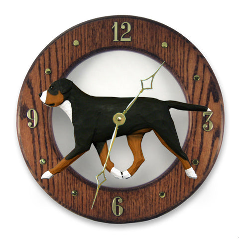 Greater Swiss Mt. Dog Wall Clock - Michael Park, Woodcarver