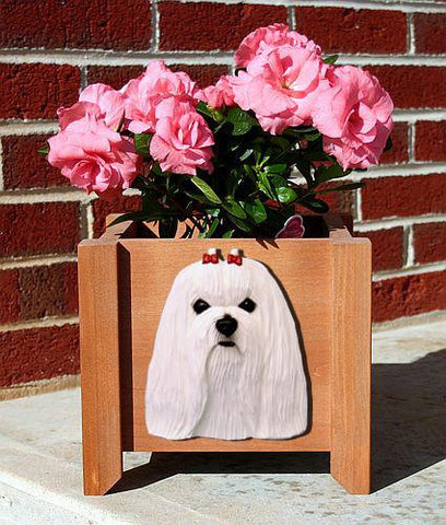 Maltese Dog Planter Box - Michael Park, Woodcarver