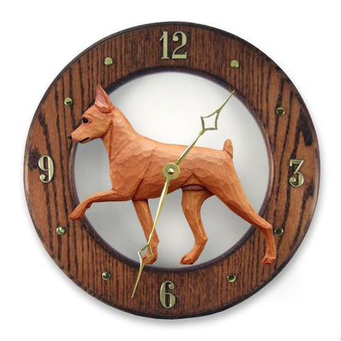 Miniature Pinscher Wall Clock - Michael Park, Woodcarver